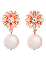 Faux Pearl Floral Drop Earrings