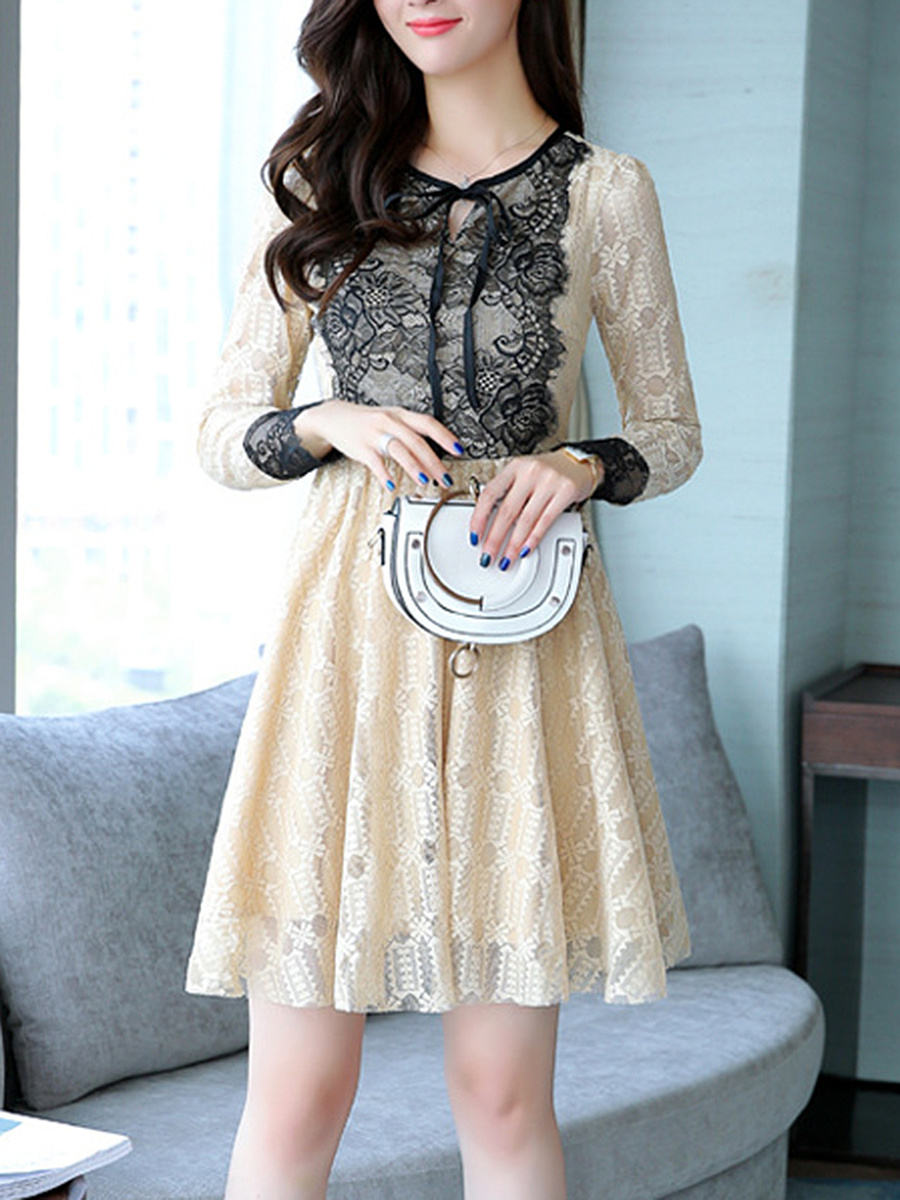 Tie Collar Lace Color Block Skater Dress