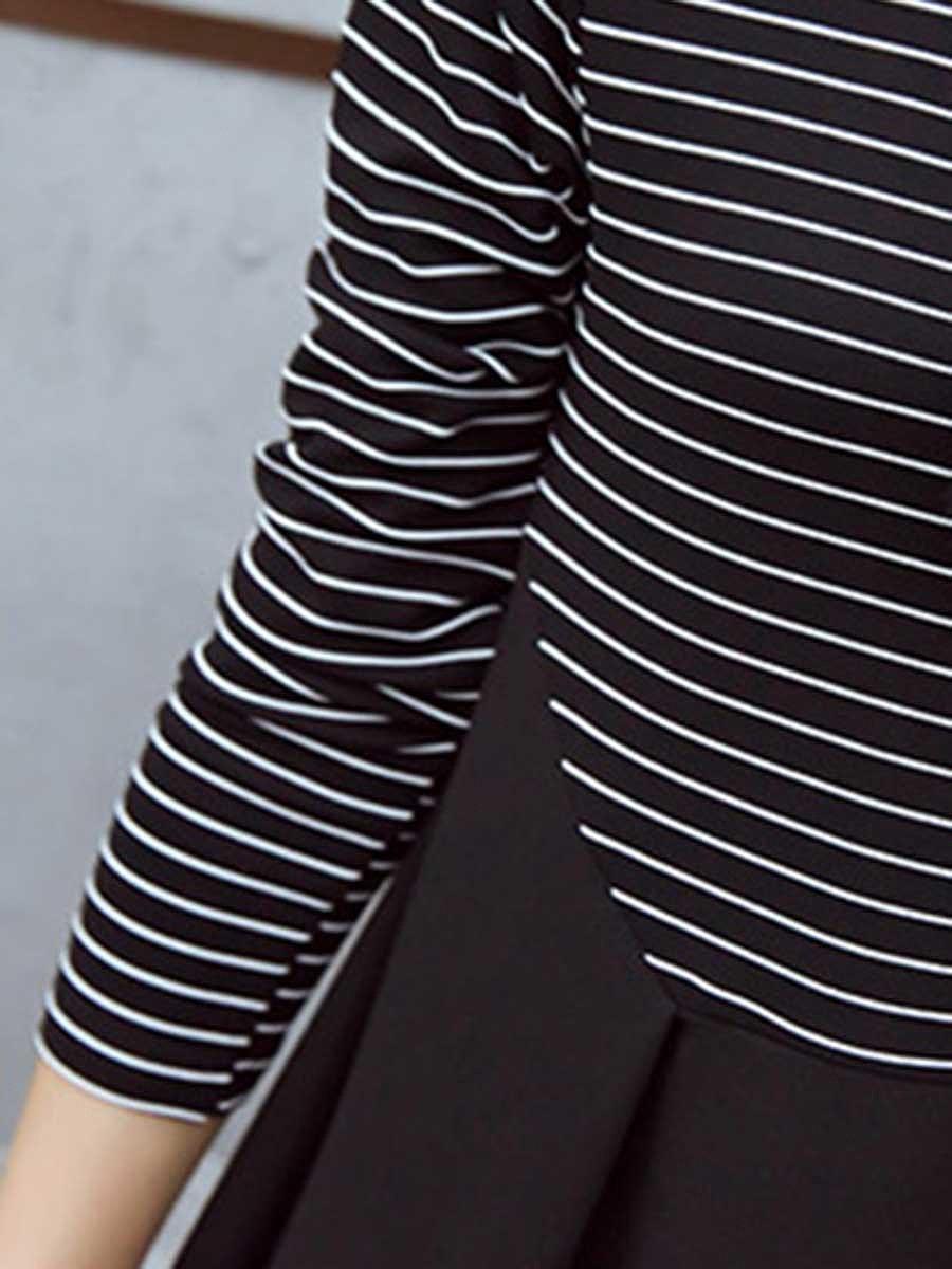 Casual Round Neck Striped Skater Dress