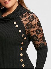 Cowl Neck  See-Through  Plain  Long Sleeve Plus Size T-Shirts