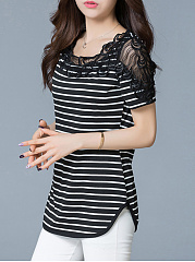 Decorative Lace  Curved Hem  Striped Blouse