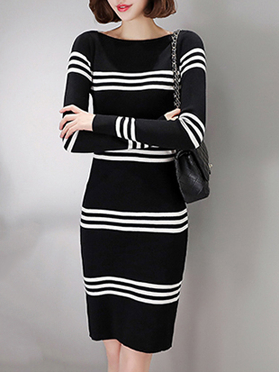 Striped Knitted Boat Neck Bodycon Dress