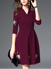 V-Neck Embroidery Applique Belt Skater Dress