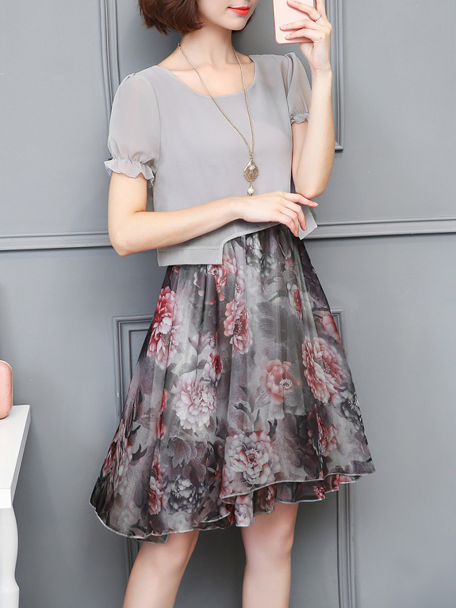 Chic Floral Printed Chiffon Round Neck Skater Dress