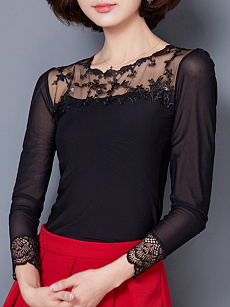Autumn Spring  Women  Round Neck  Decorative Lace See-Through  Plain Long Sleeve T-Shirts