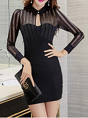 Fold-Over Collar  Plain  Blend Bodycon Dress