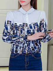 Autumn Spring  Polyester  Women  Doll Collar  Color Block Printed  Long Sleeve Blouses