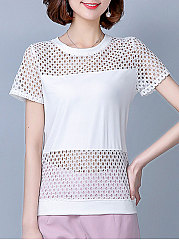 Summer  Polyester  Women  Round Neck  Hollow Out Plain  Short Sleeve Blouses