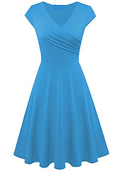 Solid Color Surplice Plain Skater Dresses