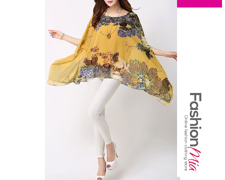 material:chiffon, collar&neckline:round neck, sleeve_type:cape sleeve, sleeve:short sleeve, embellishment:asymmetric hem, pattern_type:floral, occasion:vacation, season:summer, package_included:top*1, lengthsleeve length