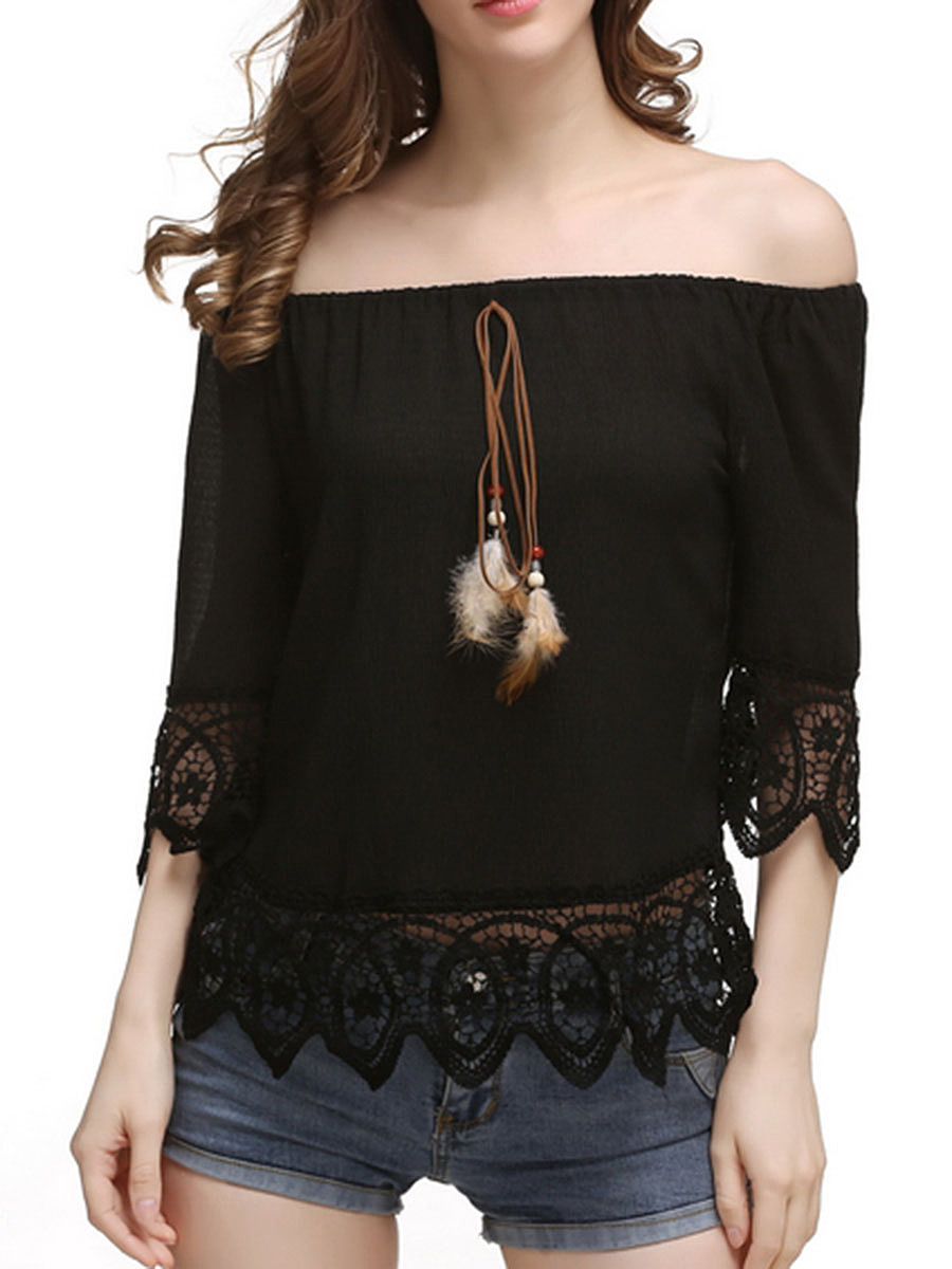 Off Shoulder Decorative Lace Plain Blouse