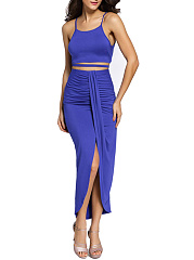 Attractive-Spaghetti-Strap-Plain-Crop-Top-And-Slit-Skirt