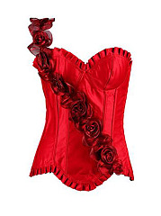 Women-Sexy-Body-Shapers-Lace-Bustiers-Rose-Ornanments-Waist-Trimmer-Corsets