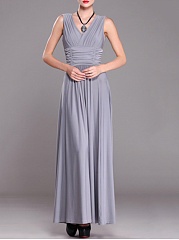 Surplice  Elastic Waist  Plain Maxi Dress