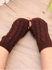 Knitted Fingerless Gloves Pure Color Soft Thicken Mitten