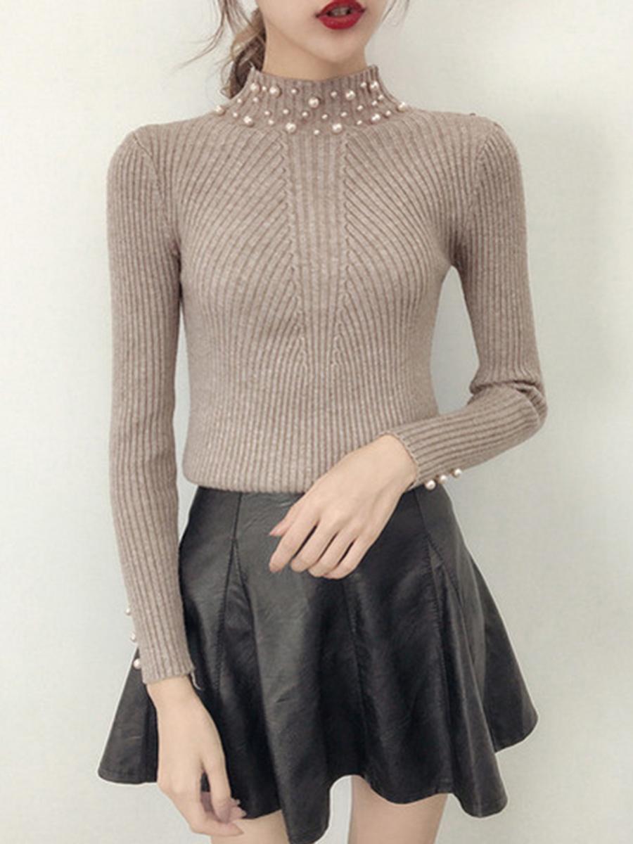 High Neck Plain Beading Rib Knit Sweater