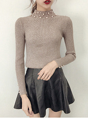 High-Neck-Plain-Beading-Rib-Knit-Sweater