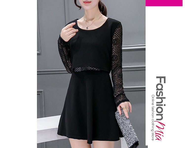 style:cute,fashion, material:polyester, sleeve:long sleeve, pattern_type:hollow out,lace, length:mini, how_to_wash:cold  hand wash, supplementary_matters:all dimensions are measured manually with a deviation of 2 to 4cm., occasion:date, dress_silhouette:flared, package_included:dress*1, lengthsleeve lengthbust