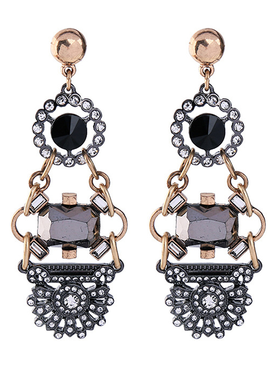 Statement Hollow Out Rhinestone Drop Earrings