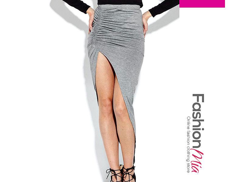 Light Gray Plain Straight Knee-Length Skirts For Women