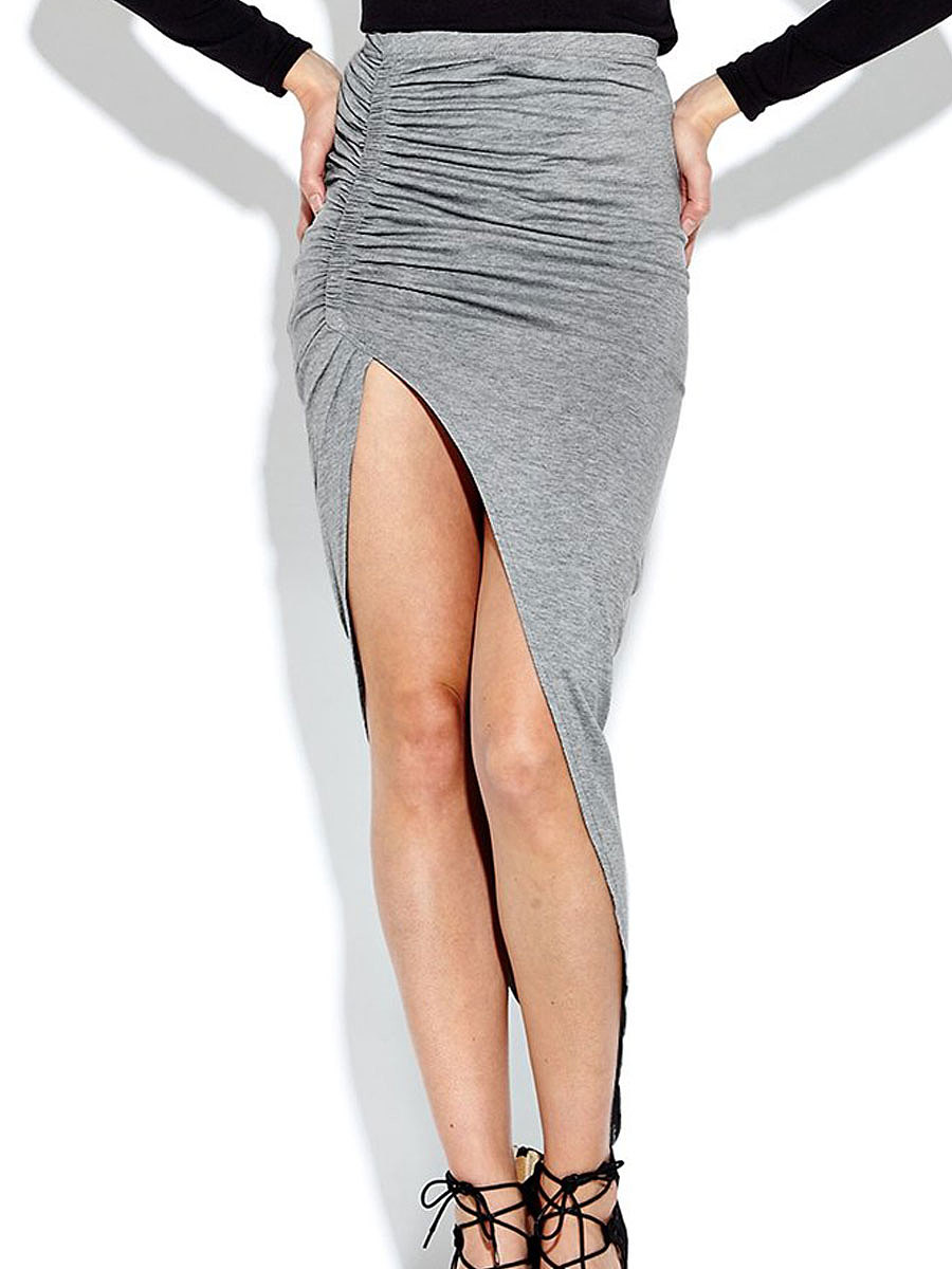 Light Gray Plain Straight Knee-Length Skirts For Women