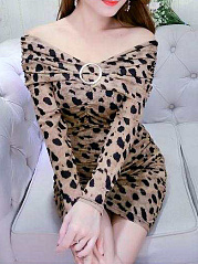 Open Shoulder  Leopard Bodycon Dress