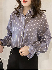 Lapel  Patchwork  Elegant  Striped  Long Sleeve  Blouse