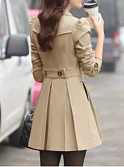 Fold Over Collar  Double Breasted  Belt Loops  Plain Trench Coat