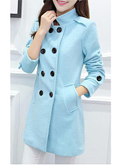 Lapel Double Breasted Pocket Woolen Plain Coat