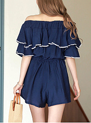 Off Shoulder Contrast Trim Flounce Pocket Wide-Leg Romper