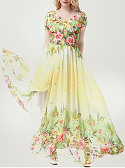 Tropical Floral Elastic Waist V-Neck Chiffon Plus Size Maxi Dress