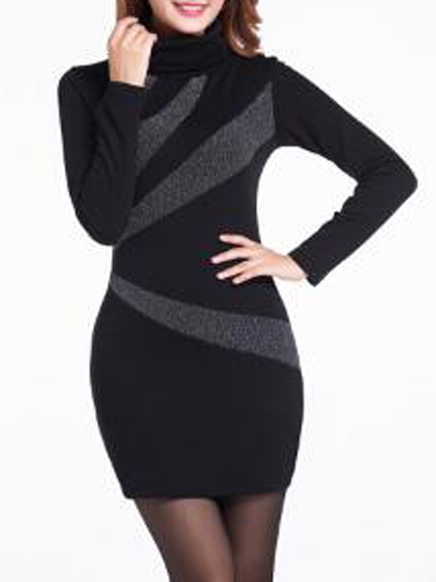 High Neck  Plain  Blend Bodycon Dresses