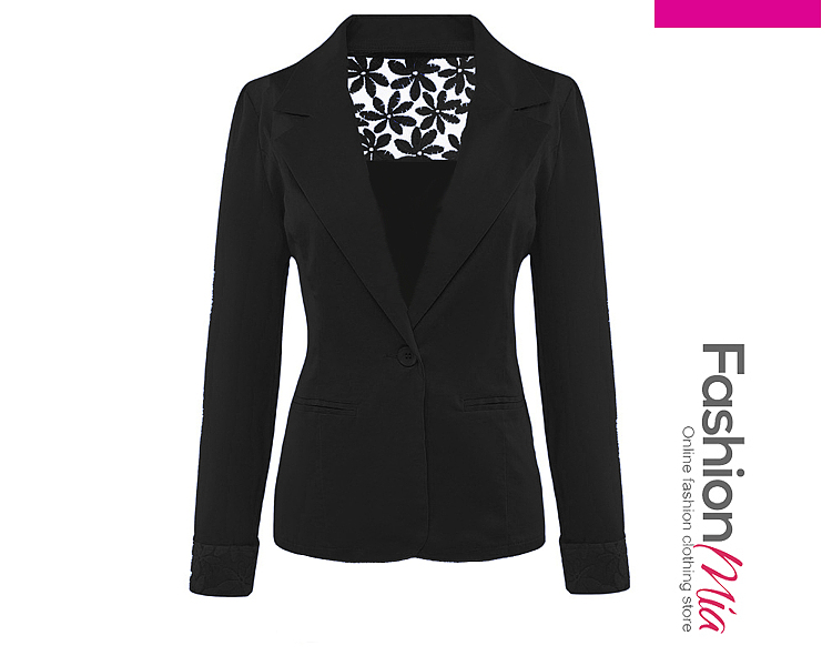 gender:women, hooded:no, thickness:regular, brand_name:fashionmia, outerwear_type:blazer, style:fashion,lady style, collar&neckline:notch lapel, sleeve:three-quarter sleeve, embellishment:decorative lace, pattern_type:plain, occasion:basic,daily,formal, season:autumn,spring, package_included:top*1, lengthshouldersleeve lengthbust