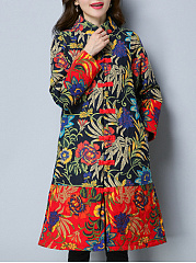 Band Collar Tribal Printed Quilted Padded Long Coat