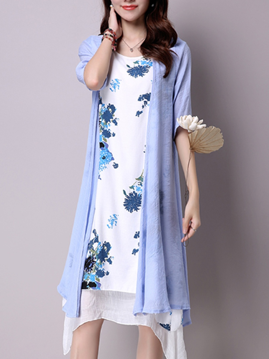 Color Block Printed Round Neck Asymmetric Hem Shift Dress
