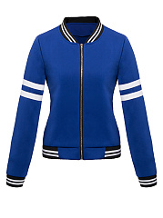 Band Collar Zips Striped Bomber Jacket