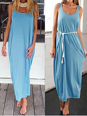 Round Neck  Backless  Plain Maxi Dress