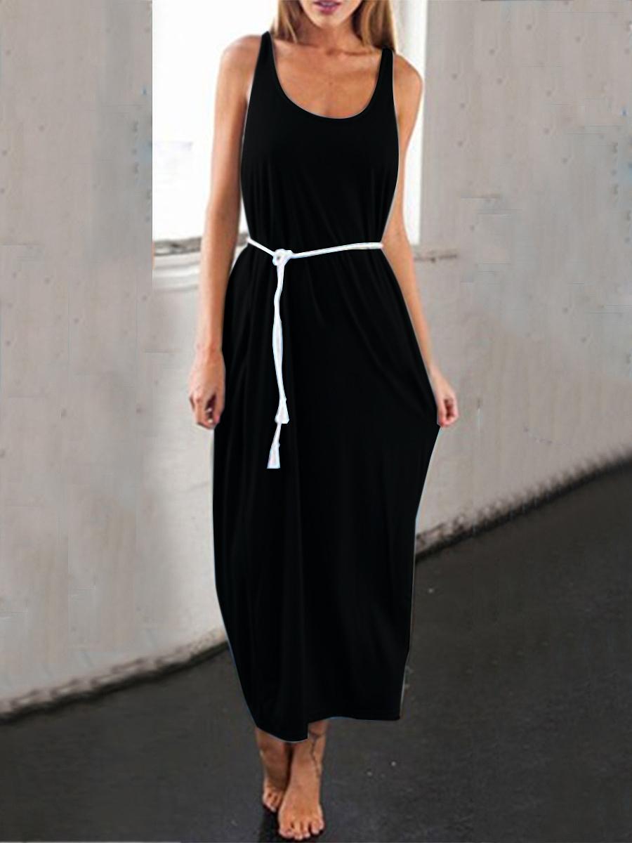 Round Neck  Backless  Plain Maxi Dress