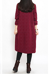 Band Collar  Plain Shift Dress