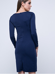 Office Solid Decorative Button Bodycon Dress