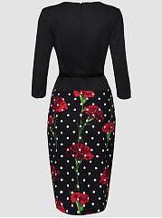 Office Floral Polka Dot Printed Belt Bodycon Dress