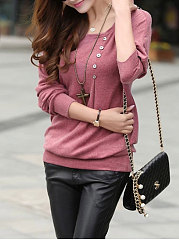 Cotton  Round Neck  Decorative Button  Plain Long Sleeve T-Shirts
