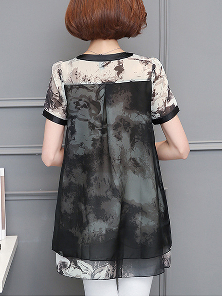 Split Neck  Hollow Out Printed Blouse