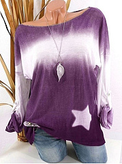 Round Neck  Loose Fitting  Star Blouses