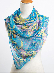 Gauze Geometric Abstract Print Scarves