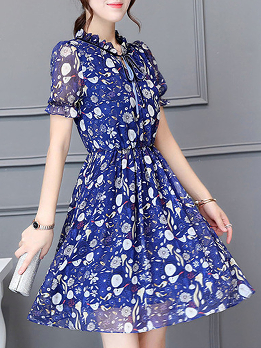 Tie Collar Elastic Waist Printed Chiffon Skater Dress