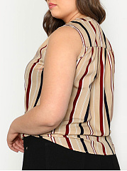Round Neck  Asymmetric Hem  Vertical Striped  Sleeveless Plus Size Blouse