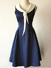 V-Neck  Patchwork  Polka Dot Skater Dress