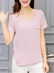 Spring Summer  Polyester  Women  Round Neck  Decorative Button  Plain  Short Sleeve Blouses