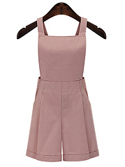 Elastic Waist Pocket Plain Shorts Overalls
